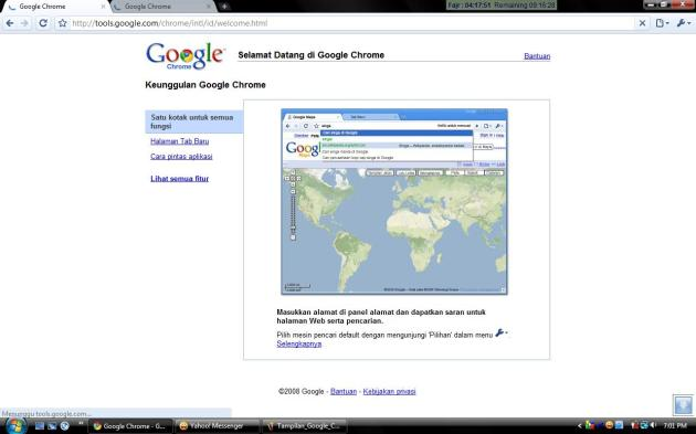 Tampilan awal Google Chrome